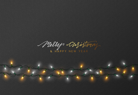 Diseño de tarjetas de felicitación de vacaciones de Navidad. Luces de Navidad que brillan intensamente. Guirnaldas de fondo luces