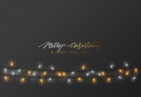 Progettazione di cartoline d'auguri di vacanze di Natale. Luci di Natale incandescente. Luci di ghirlande di sfondo Archivio Fotografico - 87724019