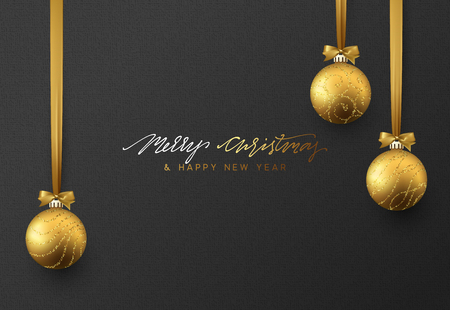 Christmas background with shining gold ball. Lettering Merry Christmas card vector Illustration.
