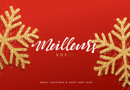 joyeux: Meilleurs voeux Joyeux Noel. Xmas background with shining golden snowflakes. Christmas greeting card vector Illustration. Illustration