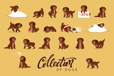 Set of cute dogs labrador and golden retriever illustration for 2018 calendar