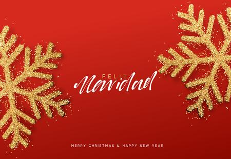 Spanish lettering Feliz Navidad. Christmas background with realistic bright snowflakes Stock Illustratie