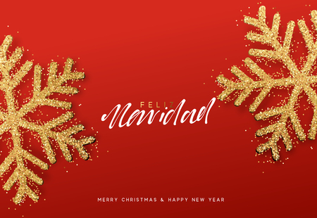 Spanish lettering Feliz Navidad. Christmas background with realistic bright snowflakes Ilustração
