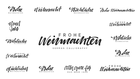 German lettering Frohe Weihnachten, Frohliche Weihnachten. Merry Christmas and Happy New Year, black text calligraphy