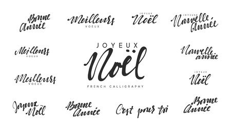 French lettering Joyeux noel, Meilleurs Voeux, Bonne annee. Merry Christmas and Happy New Year, black text calligraphy