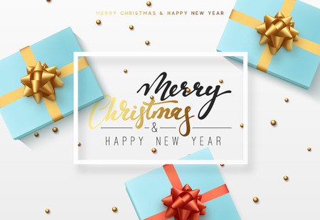 Christmas background with gifts box. Text Merry Christmas and Happy new year in a frame