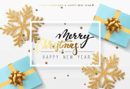 Fondo de Navidad con caja de regalos y brillantes copos de nieve de oro. Ilustración de vector de tarjeta de feliz Navidad.
