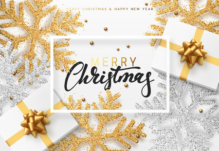 Christmas background with gifts and shining golden and silver snowflakes. Merry Christmas card vector Illustration.