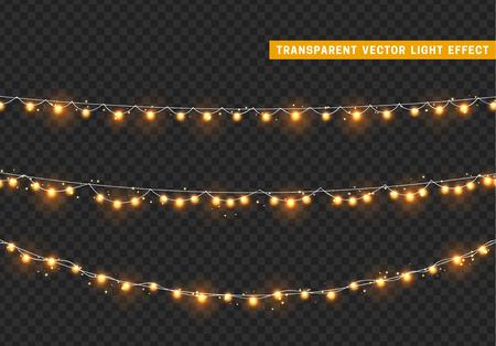 Las luces de Navidad aislaron elementos de diseño realista. Luces brillantes de Navidad. Guirnaldas, decoraciones navideñas.