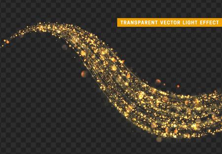 Magiczny efekt świetlny. Złoty brokat gwiezdnego pyłu. Błyszcząca gwiazda pyłu ilustracji wektorowych.