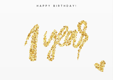 modern business: One years, Number 1, lettering sign from golden confetti.
