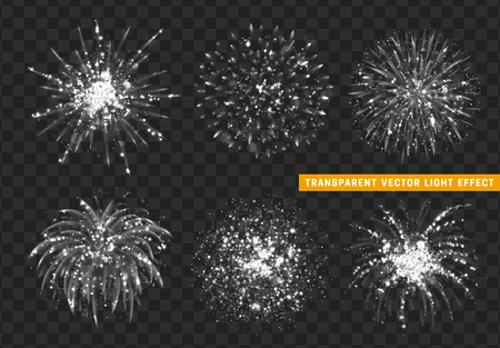 Set of Firework white isolated. Xmas decoration. Holiday design element. Bright realistic firework with transparent background effect. Illustration