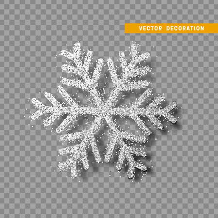 Christmas decoration silver snowflake. Vectores