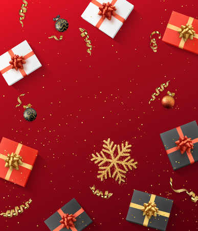 Christmas composition. Christmas gift, confetti, golden snowflake and Xmas balls. Red background Stock Vector - 89996938