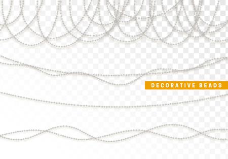 String beads realistic isolated. Decorative design element bead. Illustration