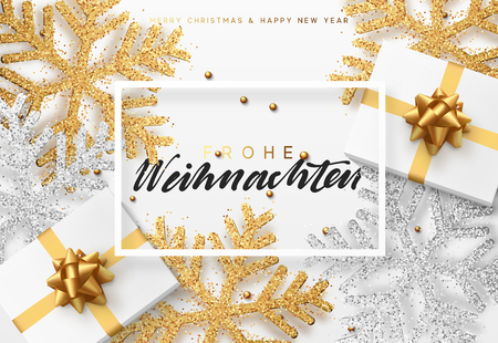 Christmas background with gifts box and shining snowflakes. German text Frohe Weihnachten