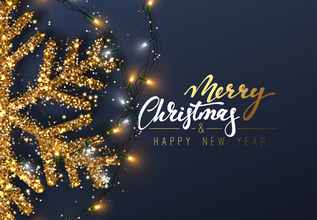 Christmas background with Shining gold Snowflakes. Merry Christmas Lettering, card vector Illustration.
