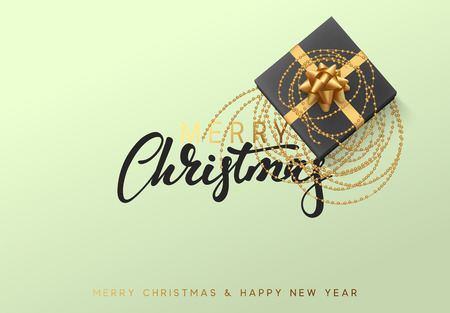 Merry Christmas and Happy New Year illustration with a gift box entwined with golden beads.