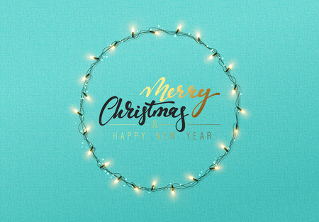 E Cards Weihnachten.Glowing Christmas Lights Wreath For Xmas Holiday Greeting Cards