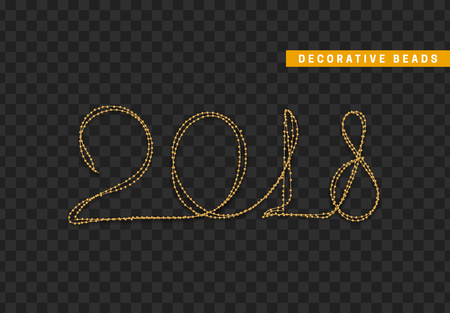 2018 new year string beads realistic isolated. Decorative design element golden bead.