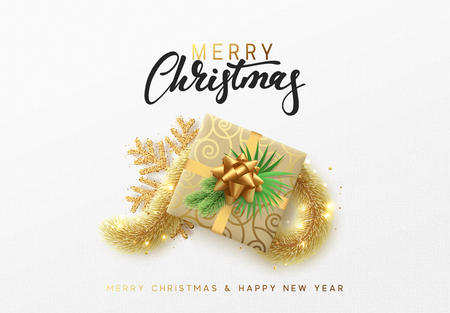 Merry Christmas greeting card. Xmas holiday background, gift box with gold tinsel and bright golden snowflake.