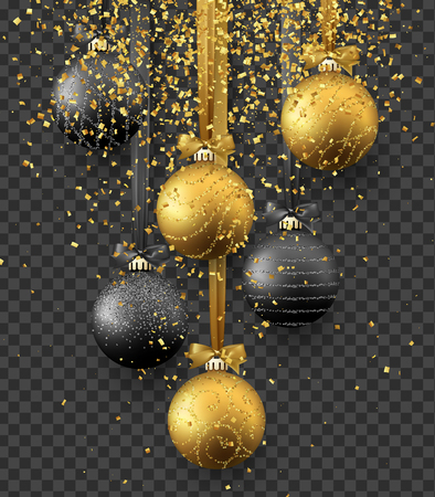Bauble Christmas decoration, hanging on ribbon xmas balls in gold and black colors, and golden bright sparkles of confetti. Realistic view of object isolated on transparent background