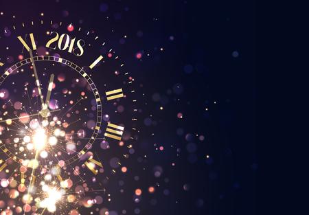 2018 New Years achtergrond vintage goud schijnt klok rapport tijd vijf minuten tot middernacht. Stock Illustratie