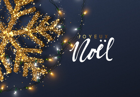 Christmas background with Shining gold Snowflakes. French text Joyeux Noel. Lettering Merry Christmas card vector Illustration. Stock Illustratie
