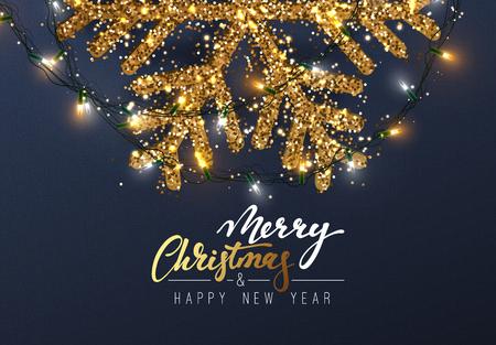 Kerstmisachtergrond met Glanzende gouden Sneeuwvlokken. Belettering Merry Christmas card vector illustratie.
