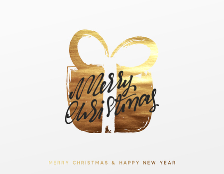 Gold Christmas greeting card, Golden Xmas surprise gift box.