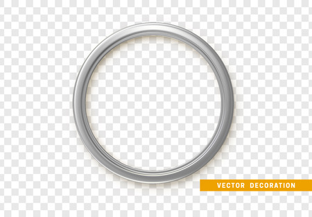 Silver round frame isolated on transparent background.