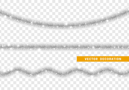 Christmas traditional decorations silver tinsel. Xmas ribbon garland isolated realistic decor element