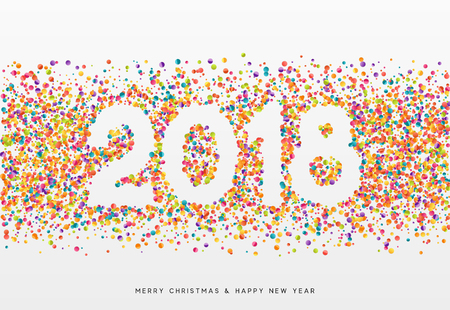 2018 Happy New Year. Colorful confetti and white numbers, design for postcards, banners, posters, website