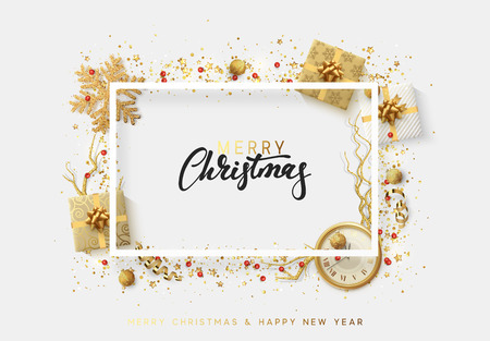 French text joyeux noel merry christmas greeting cards xmas christmas bright background with golden xmas decorations merry christmas greeting card glitter gold composition m4hsunfo Images