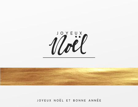 French text Joyeux Noel. Christmas card, design with golden texture paint brush. Xmas greeting card vector illustration.