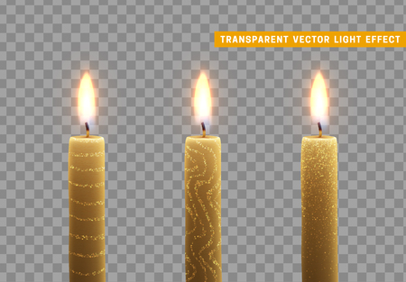 Candles burn with fire. Set of paraffin candles realistic isolated on transparent background. Element for design decor, vector illustration