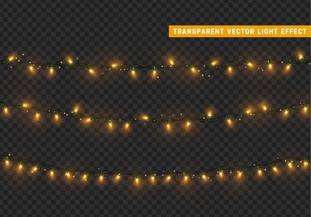 Christmas lights isolated realistic design elements. Xmas glowing lights. Garlands, Christmas decorations.
