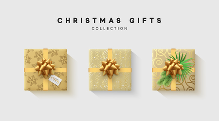 Christmas collection of gift box with bow and ribbon, is packed in funny foil pattern winter. Illustration