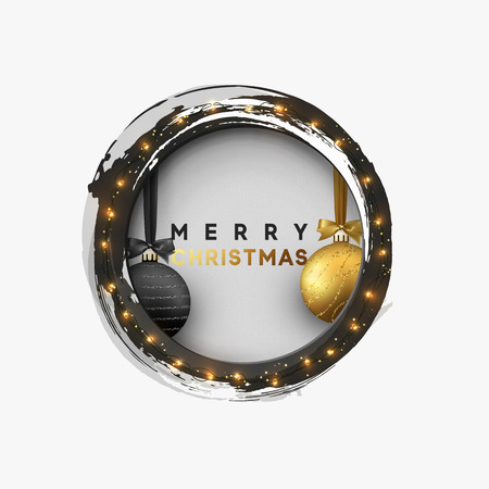 Christmas greeting illustration. Round hole, black abstract frame, with bright light golden garlands, and xmas ornaments balls.
