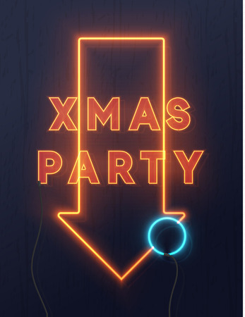 neon lights design xmas party background christmas retro card vector banner stock