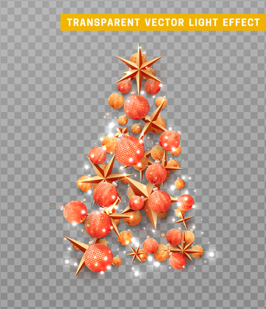 Vector isolated on a transparent background, creative composition in shape Xmas tree, with elegant stars and baubles balls. Ilustração