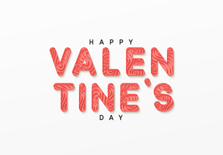 Happy valentine day. Paper art in the style of quilling. Vector illustration.