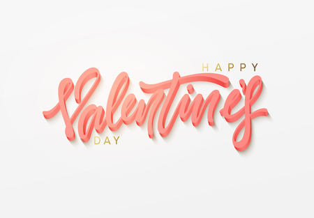 Happy Valentines Day vector text. Lettering design greeting card. Illustration