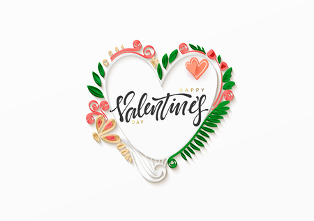 Happy valentine day. Paper art heart love in the style of quilling. Vector illustration.