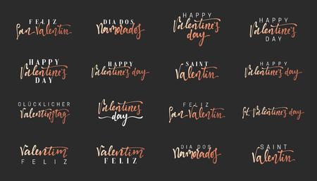 Valentines Day text. Inscription in different languages, French, Spanish, German and Portuguese. Feliz San Valentin, Dia dos Namorados, Feliz Valentim.