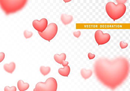 Pink colored balloons image of hearts isolated on transparent background.
