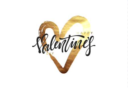 Valentine's day golden heart, smear paint brush with bright sparkles for greeting card, poster, banner, design element vector illustration.