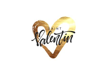 Saint Valentin. Golden heart, smear paint brush with bright sparkles. Greeting card, poster, banner, design element. vector illustration
