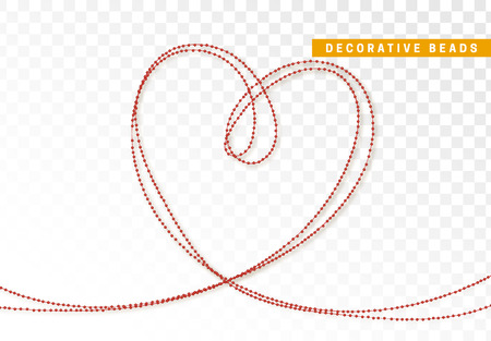String beads realistic isolated. Decorative design element red bead. Illustration