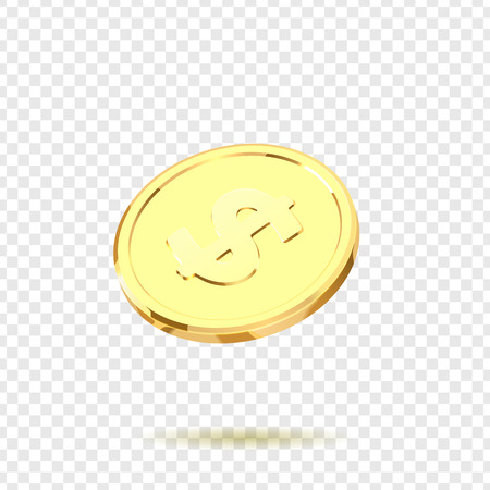 Golden coins. Realistic gold money isolated on a transparent background.